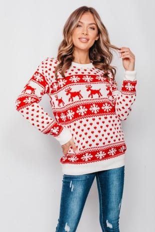 Cream Reindeer & Snowflake Christmas Jumper
