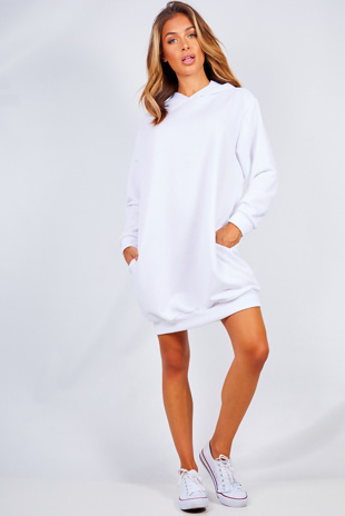 White Oversized Baggy Pocket Sweat Hood Dress