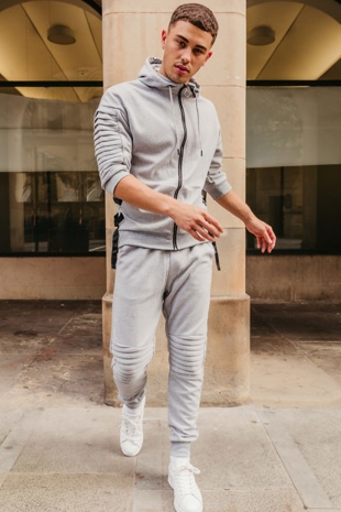 Mens Grey 3/4 Sleeve Ribbed Detail Tracksuit
