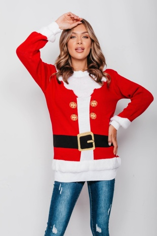 Red Santa Belt Knitted Christmas Jumper