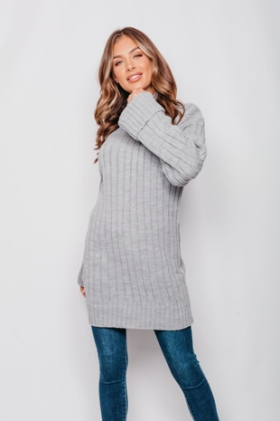 Grey Ribbed Knitted Oversized Jumper Dress