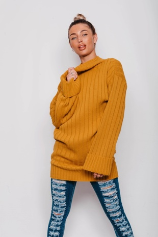 Mustard Ribbed Knitted Oversized Jumper Dress