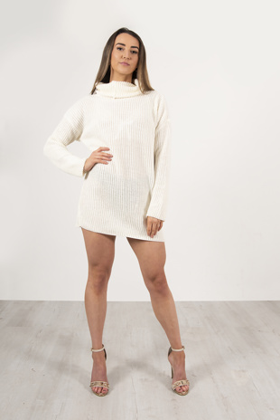 Cream Roll Neck Knitted Jumper Dress