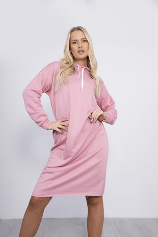 Pink Hooded Jumper Dress