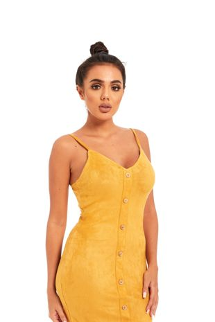 Mustard Strap Button Front Suede Mini Dress