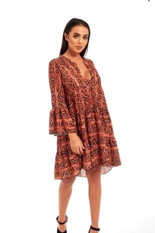 Rust Animal Print Flounce Sleeve Flare Dress