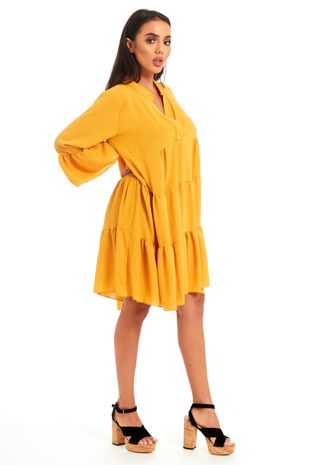 Yellow ruffle swing beach mini dress