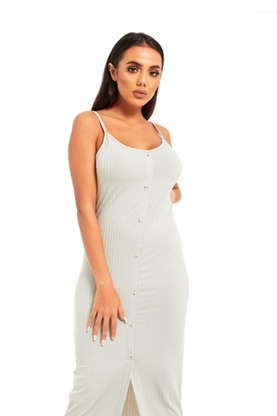 Grey Ribbed Button Front Tea Length Dress