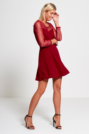 Wine Mesh Middle Skater Dress