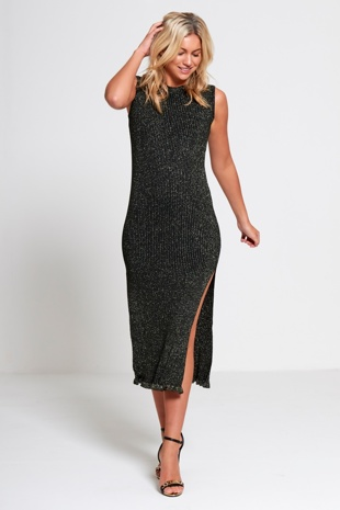 Black Knitted Glitter Midi Dress