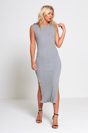 Grey Knitted Glitter Midi Dress