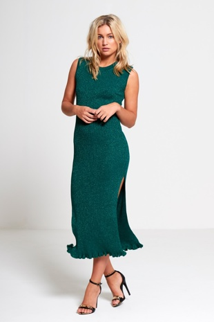 Green Knitted Glitter Midi Dress