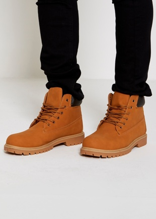 Mens Camel Nubuck Chunky Sole High Top Boots