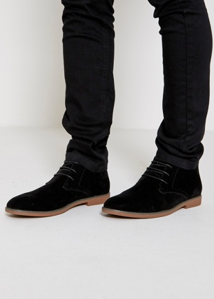 Mens Black Suede High Top Casual Ankle Boots