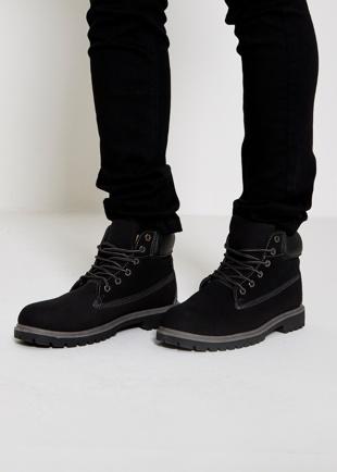 Mens Black Nubuck Chunky Sole High Top Boots