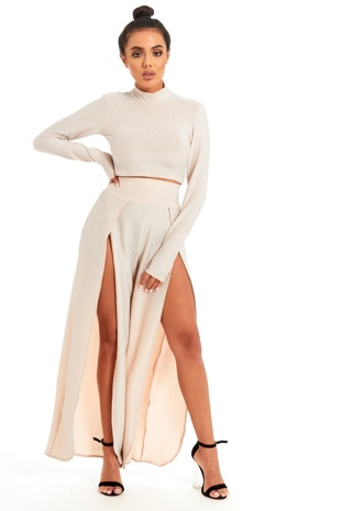 Rose Gold Party Glitter Crop Top And Split Leg Co-ord