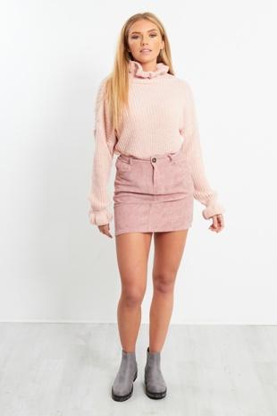 Dusky Pink Corduroy Skirt