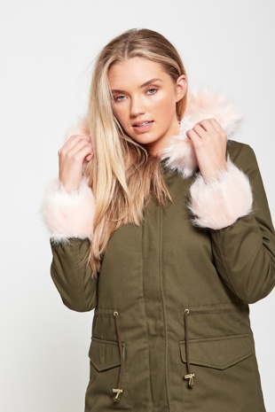 Khaki Fur Cuffed Military Parka