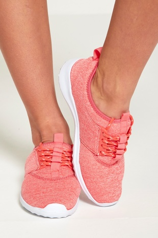 Coral Marl Lace Up Trainers