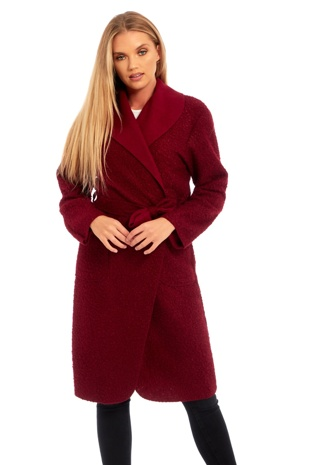 Wine Borg Belted Long Coat