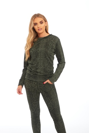 Green Snake Print Loungewear Set