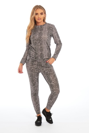 Grey Snake Print Loungewear Set