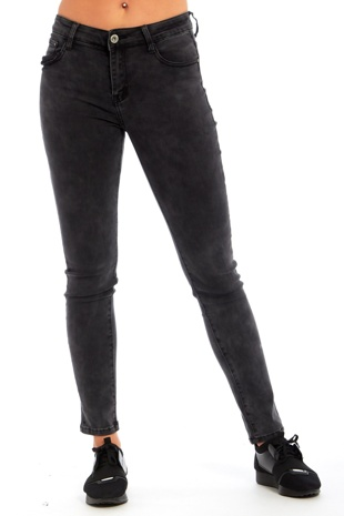 Charcoal Mid Rise Stretch Skinny Jeans