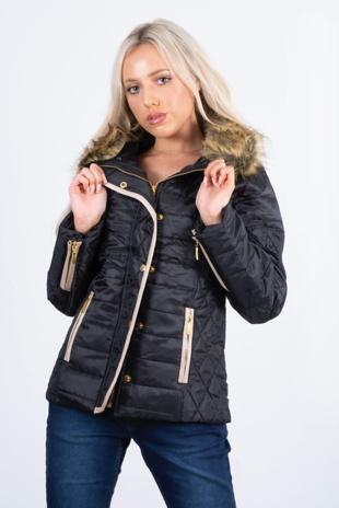black fur trim quilted coat