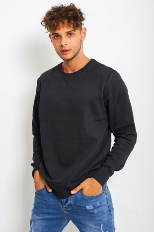 Mens Black Plain Long Sleeve Crew Sweatshirt