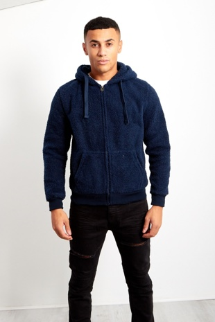 Mens Navy Borg Hood Jacket
