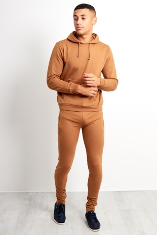 Mens Camel Draw Cords Basic Slim Fit Tracksuit