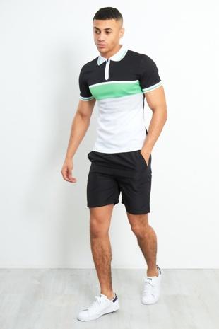 Colour block polo zipper shirt and shorts set