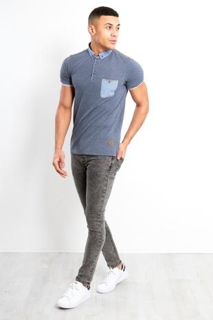 Men Charcoale Acid Wash Skinny Jeans
