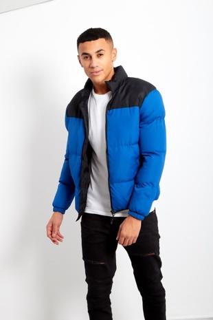 Mens Blue Contrast Panel Padded Jacket