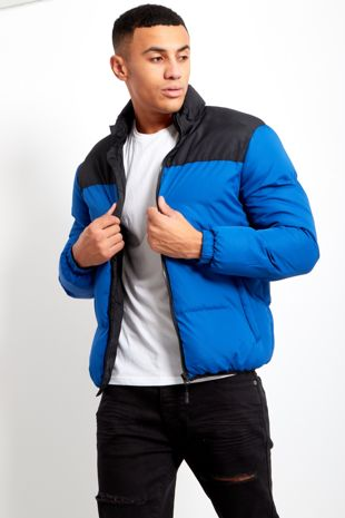 Blue Mens Contrast Panel Padded Jacket