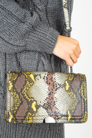 Beige Faux Snake Print Chain Strap Cross Body Bag
