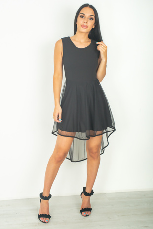 Black Mesh Overlay Skater Dress