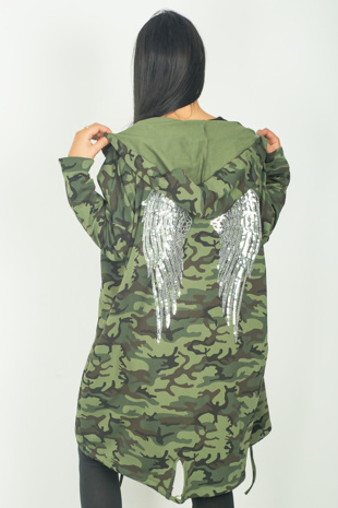 Khaki Camo Sequin Angel Wings Hooded Cardigan