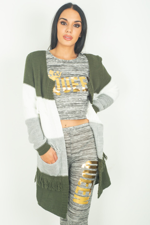 Khaki Knitted Cardigan With Tassels