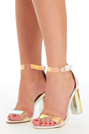 Silver Iridescent Freja Barely There Block Heels