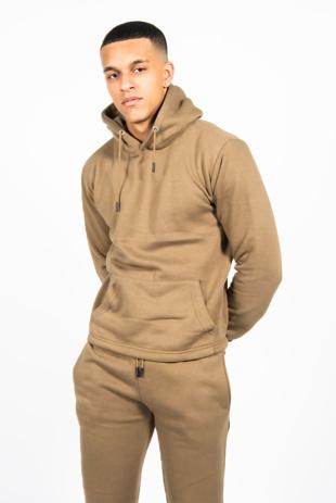 Mens Khaki Pullover Hooded Tracksuit