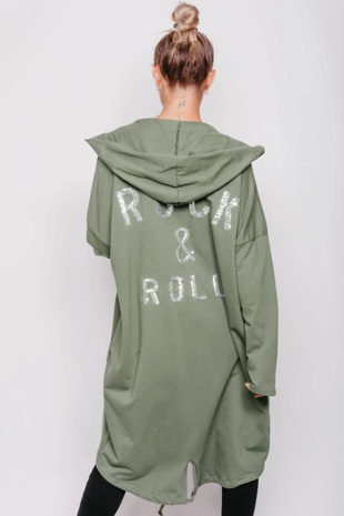 Khaki Sequin Rock And Roll Hooded Cardigan