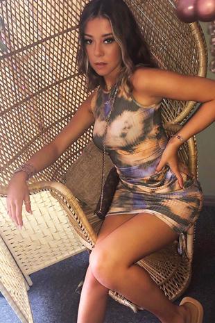 Khaki Tie Dye Ruched Bodycon Dress