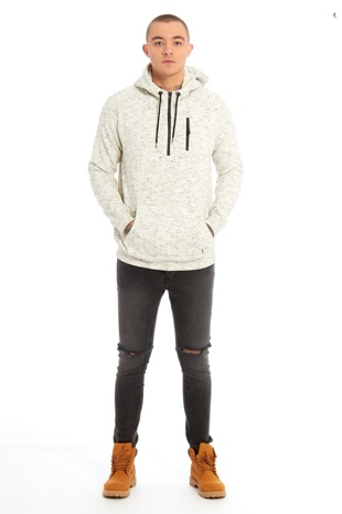 Mens Cream Space Dye Hooded Top