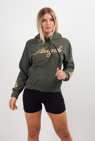 Khaki Angel Slogan Hoody
