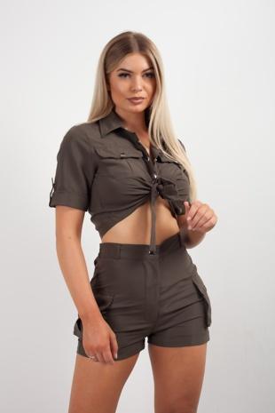 Khaki Cargo Crop Shirt and Shorts Co-ord Set