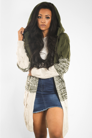 Khaki Colourblock Twist Knit Hood Cardigan