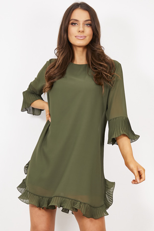Khaki Pleated Frill Dress