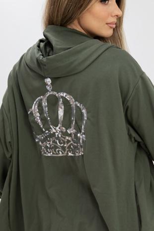 Khaki Sequin Crown Back Zipped Hoodie