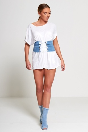 Denim Ribbon Fray Denim Corset Lace Up Belt